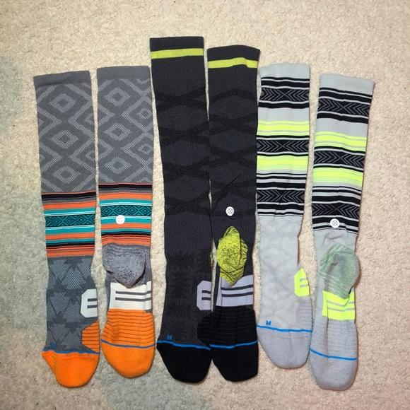 Stance Knee High Men's running socks, 3 pack Large